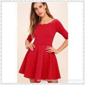"Lulu's ""Tip The Scallops"" Red Dress"
